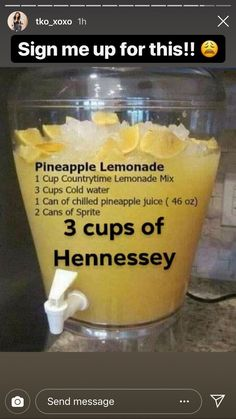 alcoholicdrinks pineapple lemonade hennessy Pineapple Lemonade Hennessy Pineapple Lemonade Hennessy You can find Liquor drinks and more on our website Party Drinks, Cocktail Drinks, Fun Drinks, Healthy Drinks, Cocktails, Beverages, Pink Alcoholic Drinks, Tequila Mixed Drinks, Fireball Drinks