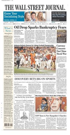 """Até o mais sisudo dos jornais americanos, o """"The Wall Street Journal"""" reservou o pé da página para homenagear o cantor chamando-o de """"o homem de muitas faces"""""""