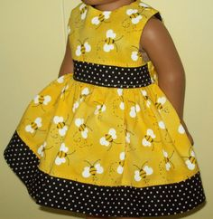 Bright Bumblebee Dress - fits American Girl dolls. $7.00, via Etsy.