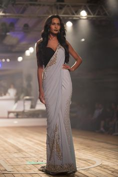Pale Blue Zardozi Saree - Monisha Jaising - Amazon India Couture Week 2015