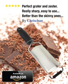 I love my new grater. It's so easy to use! My favorite feature is that it can sit on the counter top and be used! My old grater had to be held and was bulky - it grates my chocolate for baking with such ease. Click image to order!