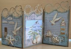 Card by Astrid Schipper  (062214)  [Marianne Design (dies) Craftables Tiny's Folding Dies-Shells, Tiny's Folding Dies-Wave, Tiny's Ocean Set and Creatables Lighthouse]