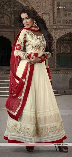 Shop for exceptional Indian Ethnic Wear Churidar Suit Salwar Kameez from Cbazaar at best price. Purchase your favorite Indian Ethnic Wear Churidar Suit through online from US, IND, AUS. Buy Now! Designer Anarkali Dresses, Pakistani Dresses, Indian Dresses, Indian Outfits, Indian Clothes, Churidar Suits, Anarkali Suits, White Anarkali, Long Anarkali