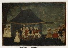 Painting in pen and black ink and body colour, also gold paint and varnish, on paper mounted on canvas, showing Sir John Dalling, Bart., and  fellow officers enjoying a nautch - two of them use an eyeglass to observe the action better. The two girls, their hands eloquently poised in classical mudras (hand gestures), are stamping rhythmically to the beat of the accompanying musicians' drums and cymbals. Framed and glazed (glass not original).