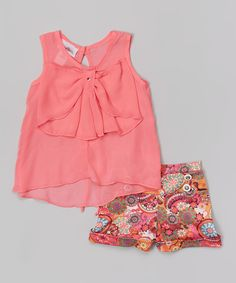 Coral Bow Top & Floral Shorts - Girls
