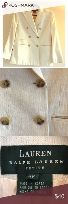 Reduced! Lauren Vintage Silk Blazer Vintage 100% Silk Blazer by Ralph Lauren. Double breasted tortoise shell buttons on a cream colored Blazer. Great vintage condition. Size is 4 petite but would probably fit a size 6. Lauren Ralph Lauren Jackets & Coats Blazers
