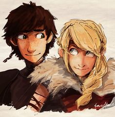 Hiccup and Astrid (Dreamworks How to Train Your Dragon) by dreamsoffools.