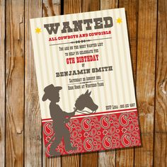 Little Cowboy Birthday Party - Invitation Only - Print as many as you need at home - Red, Brown and Paisleyley. $15.00, via Etsy.