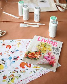 In Full Bloom   Martha Stewart Living - To add springtime blooms to the tote bags, the crafts team printed out whimsical floral clip-art patterns. Do you recognize the designs? They're the same ones printed on the flower-filled paper cones on the May 2014 cover of Living.