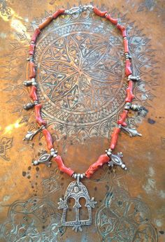 Coral, Antique Silver Moroccan Berber Amulets and Silver Beads - Victoria Z Rivers Jewelry+Antique Moroccan Amulets++Coral+Old Silver+Coins++Trade Beads