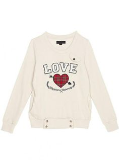 Beige Love Heart Neck Sweatshirt$51.00