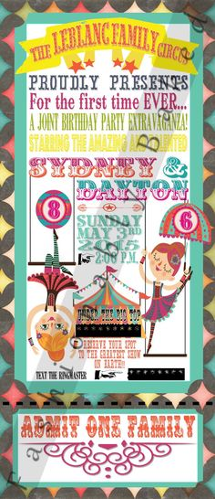 Birthday Party Invitations, Birthday Parties, Vintage Circus Party, Big Top, Digital Prints, Carnival, Presents, Handmade Gifts, Party Ideas