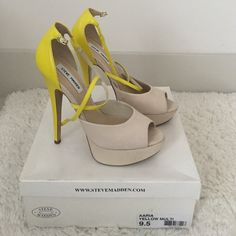 Steve Madden Aaria Yellow Multi size 9.5 High heel yellow and cream suede sandal with ankle straps - worn 1 time original packaging included Steve Madden Shoes Heels