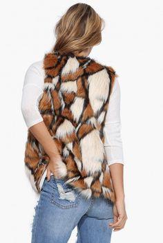 Teddy Bear Fur Vest in Camel   Necessary Clothing