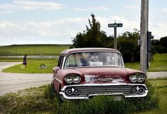 """A classic Chevy wagon sits on a long-held parking spot on Montana Avenue in Judith Gap. """"The Gap,"""" as locals call it, is located between Harlowton and Lewistown on one of Montana's most treacherous winter-driving routes."""