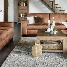 Love the cognac leather couches #prontowonen #droomwoonkamer
