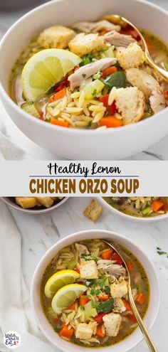 Lemon Chicken Orzo Soup - In this one-pot easy and healthy soup, you will find a delicious combination of flavors from fresh lemon, homemade chicken broth, and Italian seasonings. And, the orzo pasta makes this soup wholesome and filling. | #watchwhatueat #orzosoup #healthychickensoup #healthysoup #pastasoup Seafood Recipes, Soup Recipes, Chicken Recipes, Healthy Recipes, Chili Recipes, Dinner Recipes, Healthy Soups, Lemon Recipes, Noodle Recipes