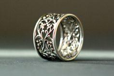 Sterling silver filigree ring. Lace ring. Silver by Eklektisch, $80.00