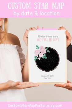This PRINTABLE custom star map by date & location is excellent PERSONALIZED romantic gift for her (sentimental gift for wife)! Please visit our website to select your design and buy it now! Bride And Groom Gifts, Wedding Gifts For Couples, Personalized Wedding Gifts, Anniversary Gifts For Husband, Paper Anniversary, Star Sky Map, Star Trek Gifts, Romantic Gifts For Her, Star Chart