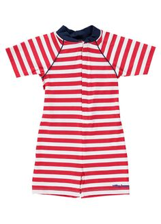 f71a7cd9e0ce3 Red And White Striped UV Sun Protection Suits by Mitty James Kids Beachwear