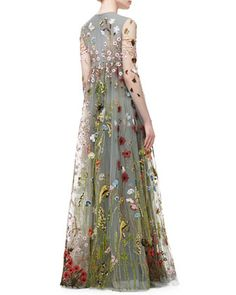 Valentino Floral-Embroidered Tulle Empire-Waist Gown, Gray