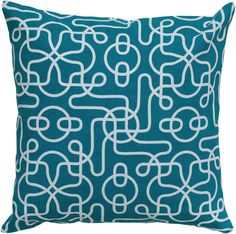 "Rizzy Home T05000 18"" x 18"" Pillow with Hidden Zipper and Polyester Filler Teal Home Decor Pillows Pillows"