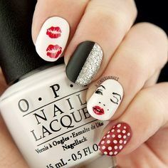 Marilyn Monroe Nail Art ... lips, dots ... top 120 nail art designs 2015 trends - Styles 7