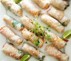 Vietnamese style Chicken and Mango Rice Paper Rolls