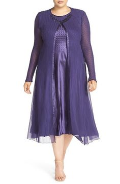Komarov Charmeuse Midi Dress with Long Chiffon Jacket (Plus Size) available at #Nordstrom