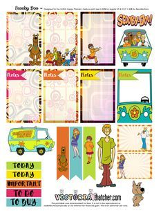 Free Scooby Doo Planner Stickers from Victoria Thatcher To Do Planner, Free Planner, Happy Planner, Planner Ideas, 2015 Planner, Printable Planner Stickers, Bujo, Planer, Scooby Doo
