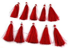 10 Pcs Beautiful Red Color Silk Tassel Beautiful Necklace Making Link 2  Long
