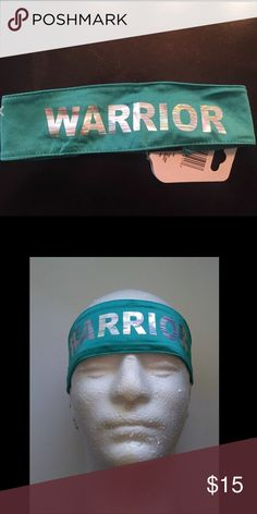 Warrior teal turquoise headband bandeau wrap Teal turquoise  spandex stretch athletic wrap headband stretch black elastic band in back designed to be one size fits all perfect wear for the gym run sports race Accessories