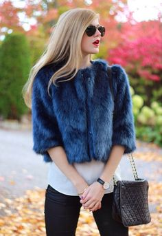 Furlicious!!! Stunning coat in blue faux fur this fall.  #mypinkmartini #fashion #style #love #ootd