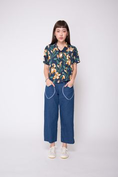 The perfect piece to add a vintage edge to your wardrobe. The dark floral print goes with any plain bottom for effortless pairing! Blue Tulips, Casual Dresses, Floral Prints, Dressing, Normcore, Navy, Shirts, Color, Women