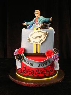 Bon Jovi, rocker cake, throw back cake, present cake, rock n roll