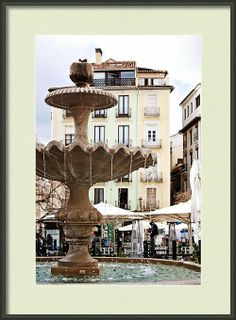Fountain And Pastel Buildings In Plaza Nueva Granada Spain  Framed Print By Angela Bonilla.  Spanish travel and tourism photos.  Pastel green and pale yellow home decor.  Andalucia travel.