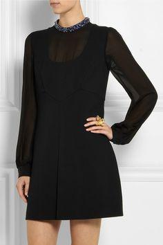 Miu MiuEmbellished wool-blend and silk-chiffon mini dress