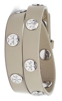 Currently adoring this grey leather wrap bracelet stamped with silver logo-stamped studs.