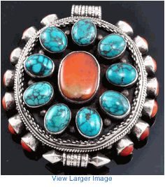 Turquoise and coral sterling silver prayer box locket
