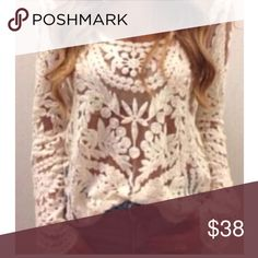 Boho chic crochet lace top, NWOT This ivory top is gorgeous! If I could grow longer arms I would! Sheer & delicate, it can be dressed up with a skirt & heels or down with jeans & boots. It is brand new, straight from the company so no tags were ever attached Tops