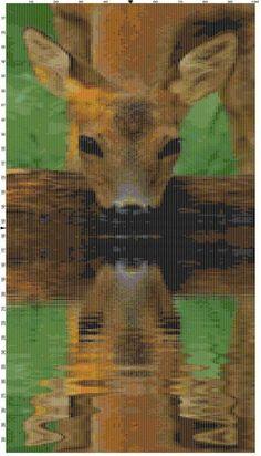 Cross Stitch Pattern Drinking Deer by theelegantstitchery on Etsy, $15.00