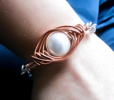 Pearl bracelet, Pearl bangle, Silver braclet, wire wrapped bracelet, Herring bone, copper bracelet, bohemian bracelet, boho bracelet