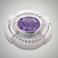 8x6 mm Oval Amethyst set in Sterling Silver Slide. All Sterling Silver is Rhodium plated. Metal:Sterling Silver Designer:Goldman-Kolber $ 110.00 Item #: Y0HMRF Call 870-863-8818 for personal consultation.