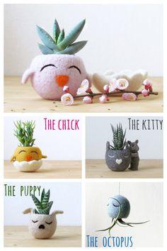 Happy Chick / Felt succulent planter  / Animal planter / cactus vase / pink vase / spring gift - Choose your color!