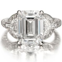 angelina jolie engagement ring emerald cut diamond engagement rings Forevermark and Fashion, Emerald Cut Diamond Engagement Ring, Emerald Cut Diamonds, Vintage Engagement Rings, Wedding Engagement, Angelina Jolie Engagement Ring, Le Jolie, Beautiful Rings, Get The Look, Lady