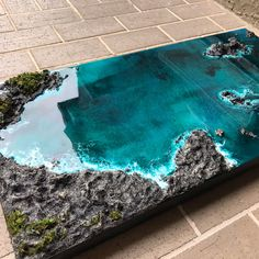 Table and Wall Art Original Artwork REAL Ocean Rocks Epoxy Resin Wall Decoration Art sculpture, Coffee table - Kunst Wood Resin Table, Rustic Outdoor Decor, Epoxy Resin Art, Diy Epoxy, Acrylic Resin, Resin Furniture, Resin Artwork, 3d Artwork, Art Sculpture