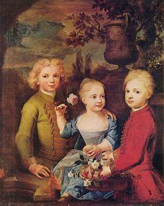 Balthasar Denner.  Drei Kinder des Ratsherrn Barthold Hinrich Brockes (Porträt). 1724, Öl auf Leinwand, 110 × 92cm. Hamburg, Kunsthalle.Deutschland.Rokoko.  KO 00241