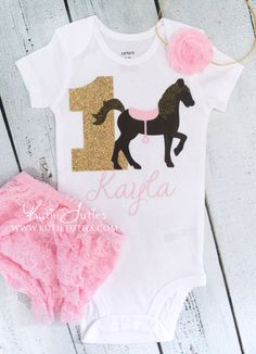 Horse Birthday Onesie, Bloomer, and Headband- Pink, brown, gold, cowgirl, pony, name, personalized, baby girl, toddler, cake smash, shirt by KutieTuties on Etsy https://www.etsy.com/listing/237448816/horse-birthday-onesie-bloomer-and