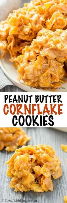 Peanut Butter Cornflake Cookies are an easy and sweet treat with no baking required! Everyone will love these chewy, sweet, and salty cookies that are ready in no time at all! (peanut butter desert recipes no bake cookies) Cornflake Cookies No Bake, Cornflake Candy, Cornflake Peanut Butter Bars, Peanut Butter Chews, Peanut Cookies, Baking Recipes, Dessert Recipes, Cookie Recipes, Baking Desserts