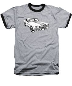 1965 GT350 Mustang Muscle Car Illustration ringer T-shirt many sizes, colors and styles to choose from. 100% Satisfaction Guarantee.